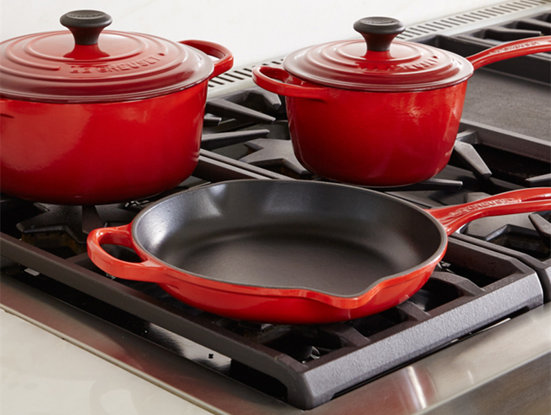 Cast iron enamel cookware and stove grill